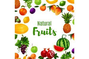 Fruit or vitamin or organic food poster