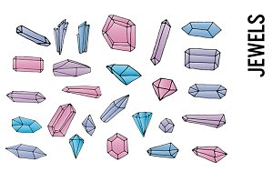 Jewels and Crystals Doodle Clipart
