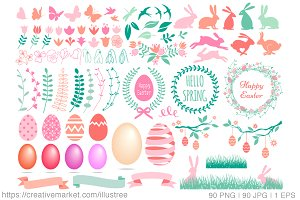 90 Easter clip art, vector set