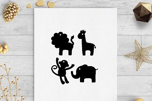 safari animals gift tags svg & dxf