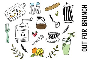 Brunch Food Doodle Clipart