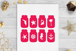 sea ocean mason jar tags svg dxf