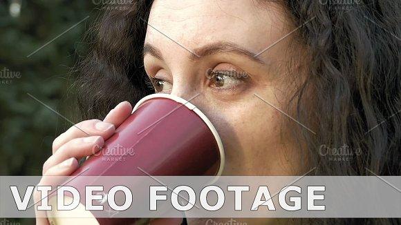 Brunette Long Hair Girl Portrait Outdoors With Tea