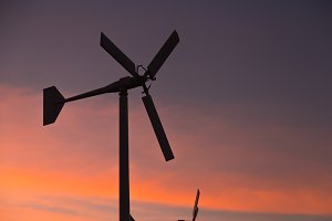 Wind turbines generate electricity.