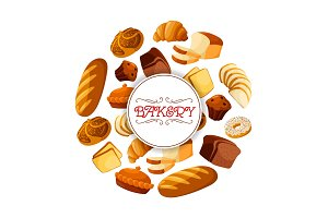 Loaf of brick rye bread and bakery food banner