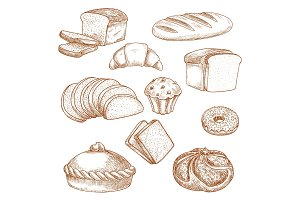 Pastry or bakery food and bread sketch