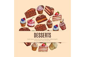 Bakery sweets and pastry, dessert food banner