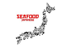 Japanese seafood, sushi forming map of Japan