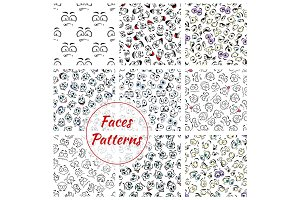 Cartoon faces seamless pattern background