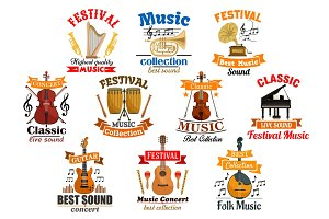 Melody notes with musical instruments icons