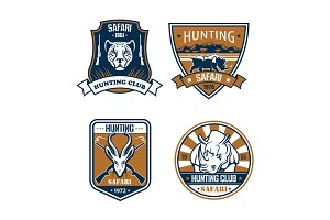 Hunting safari hunter sport club vector icons set