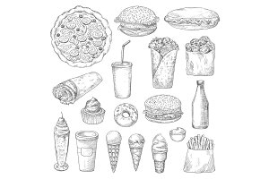 Unhealthy fast food isolated sketches