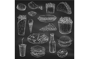 Chalk drawing of fast food on blackboard