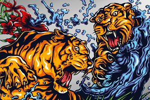 Tigers Fight Tattoo
