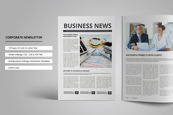 Corporate Newsletter Magazine Templates Creative Market