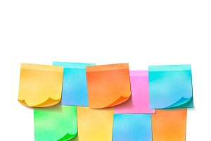 Different colorful sticky notes