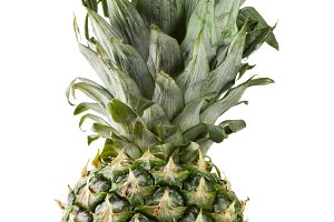 pineapple with leaves isolated on white background