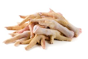 bunch of chicken feet isolated on white background