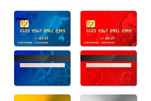 Set of realistic credit cards