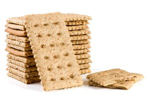stack of grain crispbreads isolated on white background