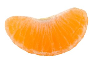 slice of tangerine isolated on white background