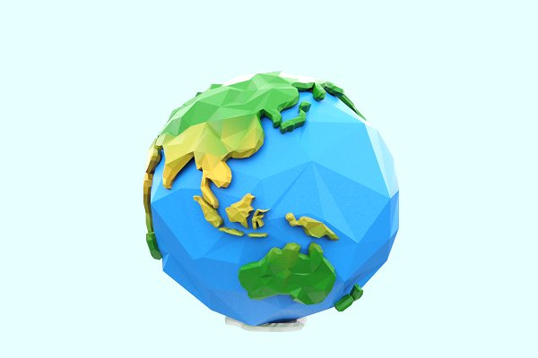 3D Environment: Tedi Permana - Low Poly Earth