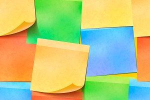A lot of colourful sticky notes
