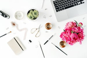 Workspace with peonies