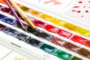 Artistic watercolor paints