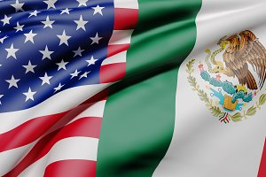 Usa and Mexico flags