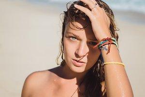 hippie girl on the beach