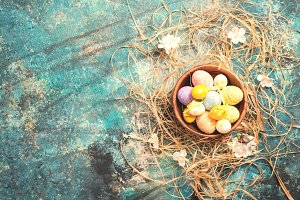 easter decoration with colored eggs