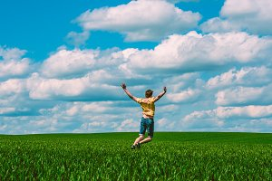 jump against the blue sky