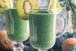 Healthy fresh kiwi smoothie