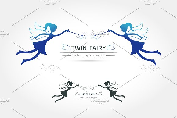 Twin Fairy Flying Logo