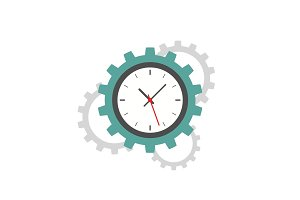 Clock gear flat icon