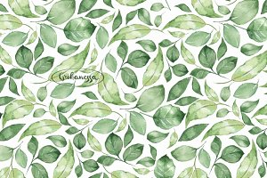Green leaves 1. Watercolor patterns
