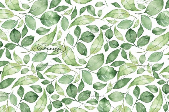 Green Leaves 1 Watercolor Patterns