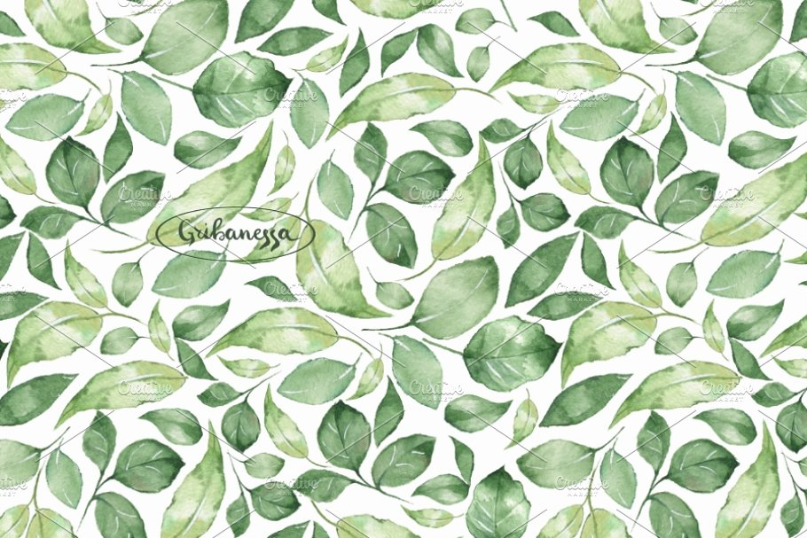 1c0ccce0c3f5 Green leaves 1. Watercolor patterns