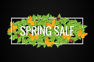 Spring Sale Banner Design Border.