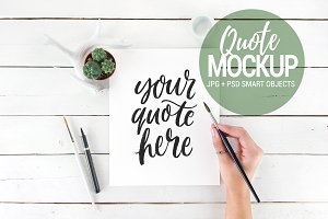 Quote mockup, flatlay styled stock