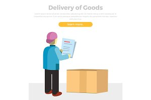 Delivery of Goods Web Banner in Flat Style Design.
