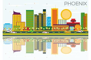 Phoenix Skyline with Color Buildings