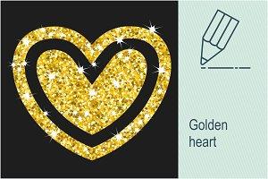 Golden heart isolated on black