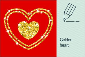 Golden heart and frame