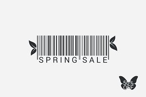 Spring Sale Bar code Background.