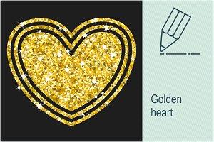 Golden heart isolated on white