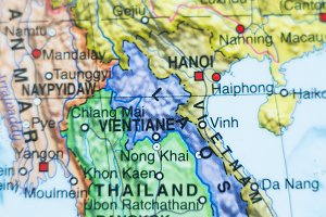 Laos country map .