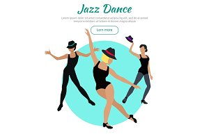Jazz Dance Conceptual Flat Style Vector Web Banner