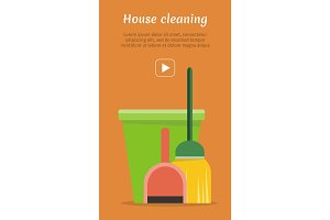 Web Banner Bucket, Duster, Broom and Dustpan Icon.